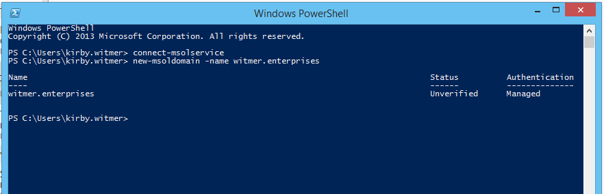 Office 365 add gTLD domain via powershell