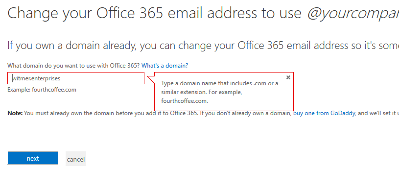 Office 365 Small Business Add gTLD domain - Type a domain name that includes .com or a similar extension