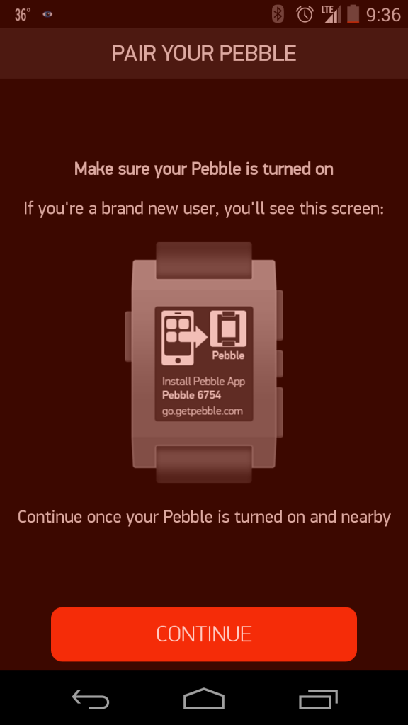 Pair Pebble Steel with Android App (Google Nexus 5)