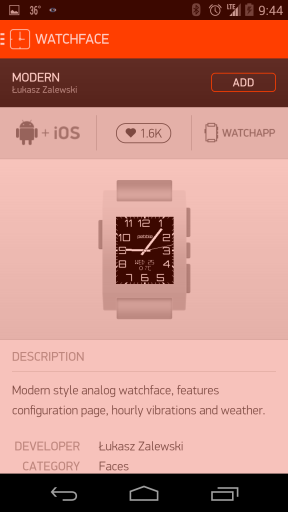 Pebble App Store - Pebble Steel with Android App (Google Nexus 5)