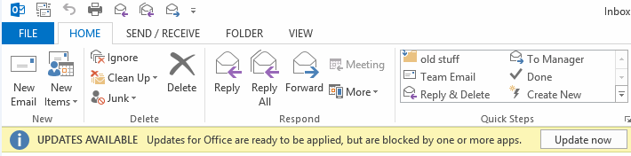 Office 2013 - Updates are ready to be applied error message.