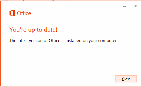 Office 2013 is up to date
